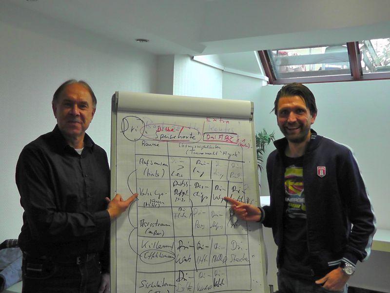 te Poel und Hyballa beim Brainstorming im Sommer 2015